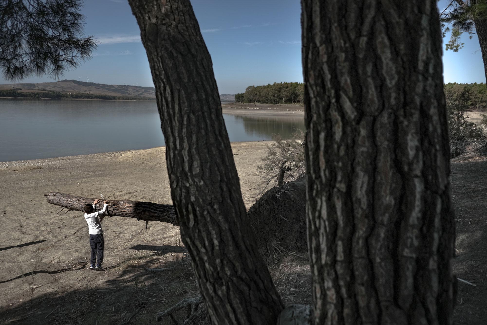 Un bambino gioca con un tronco all'oasi di San Giuliano