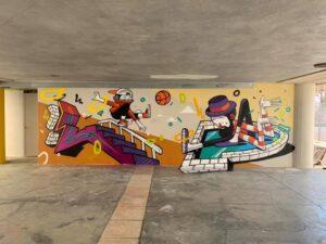 Opere di Nico Skolp e Mister Thoms, progetto Openplayfulspace di Fondazione Matera-Basilicata 2019 e Uisp Basilicata con la collaborazione della direzione artistica della Momart Gallery, piazza degli Olmi, Matera